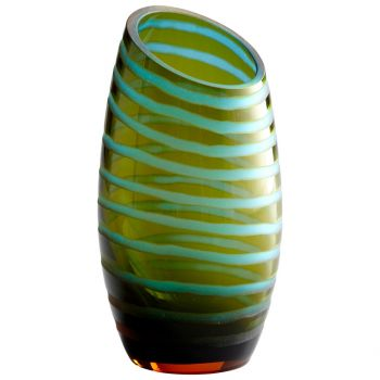 "Cyan Design Angle Cut 10.25"" Etched Vase in Cyan Blue/Orange"