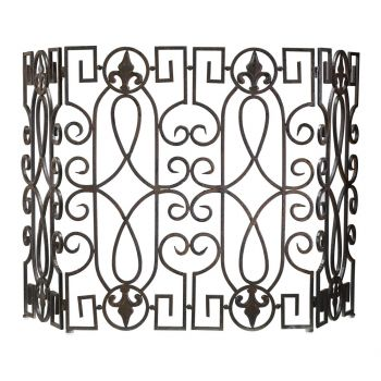 "Cyan Design Hearth & Easels 55"" Wrought Iron Fire Screen in Rustic Iron"