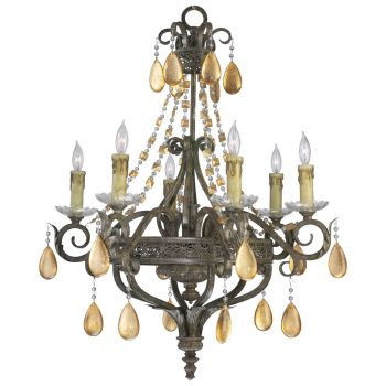 "Cyan Design Wood & Iron 29"" 6-Light Dorato Chandelier in Autumn Dusk"