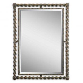 "Uttermost Garrick 35"" Metal Rectangular Mirror in Heavy Rust Wash"