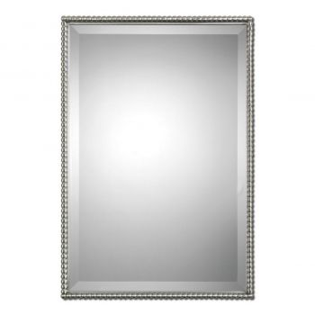 "Uttermost Sherise 31"" Rectangular Mirror in Brushed Nickel"