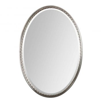 "Uttermost Casalina 32"" Oval Mirror in Plated Brushed Nickel"