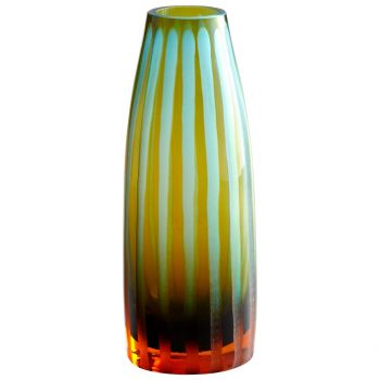 "Cyan Design Stripe 10.5"" Chiseled Glass Vase in Cyan Blue/Orange"