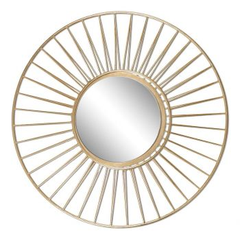 "Uttermost Caspian 30"" Round Mirror in Antique Gold Leaf"
