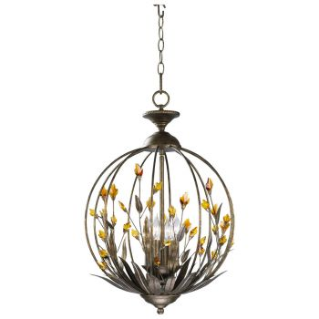 "Cyan Design Autumn 16"" 4-Light Chandelier in Autumn Dusk w/ Amber Accents"