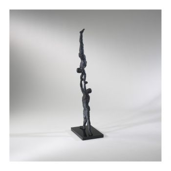 """Cyan Design Male Gymnasts 34"""" Marble Base Sculpture in Old World"""