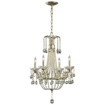 "Cyan Design Genevieve 19"" 4-Light Glass Chandelier in Silver Leaf"
