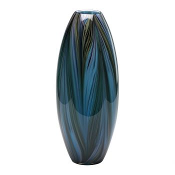 """Cyan Design Peacock Feather 20"""" Glass Vase in Multi Colored Blue"""