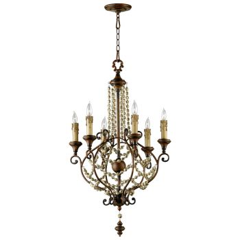 "Cyan Design Meriel 23"" 6-Light Chandelier in Antiqued Sienna"