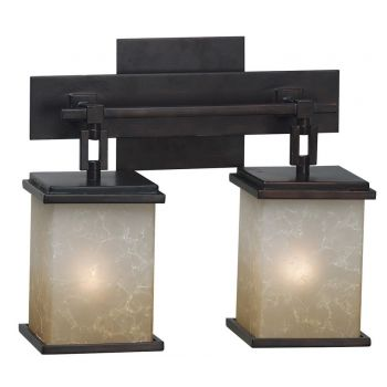 Kenroy Home Plateau 2-Light Bath Vanity in Oil Rubbed Bronze