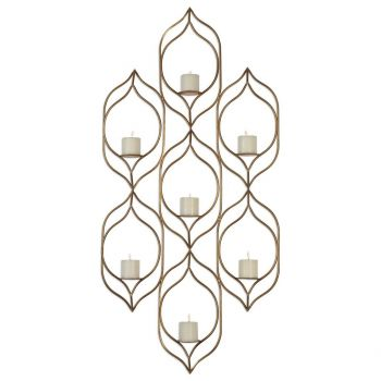 "Uttermost Rovena 58.75"" 7-Candle Wall Sconce in Antique Gold Leaf"