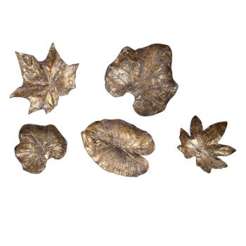 Uttermost Bronze Leaves Wall Art in Gold Leaf (Set of 5)