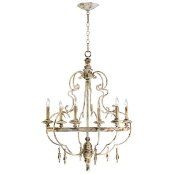 "Cyan Design Davinci 25.5"" 6-Light Chandelier in Persian White"