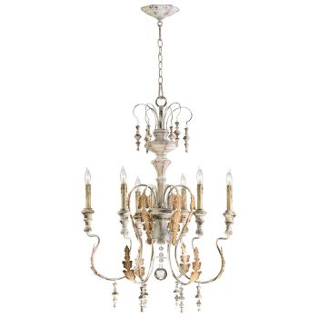 "Cyan Design Motivo 24"" 6-Light Chandelier in Persian White"