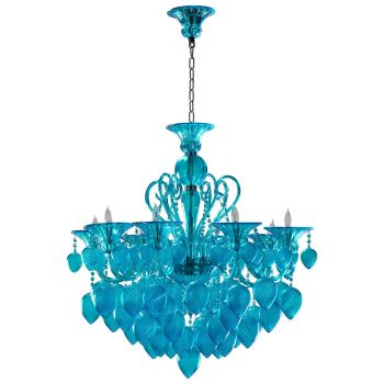 "Cyan Design Bella Vetro 34.75"" 8-Light Aqua Glass Chandelier in Chrome"