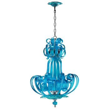 "Cyan Design Florence 22.75"" 4-Light Aqua Glass Chandelier in Chrome"