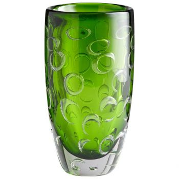 "Cyan Design Brin 11.75"" Glass Vase in Emerald Green"