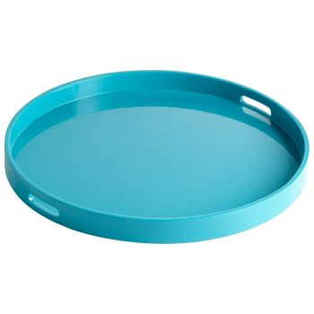 "Cyan Design Estelle 23.75"" Wood Tray in Teal Lacquer"