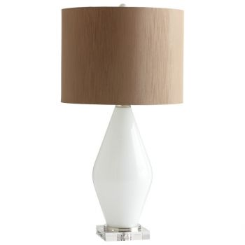 "Cyan Design Pearl Teardrop 30.5"" Faux Silk Shade Table Lamp in White"