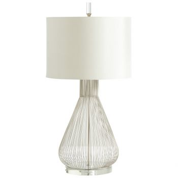 "Cyan Design Whisked Fall 34"" Off-White Shade Table Lamp in Satin Nickel"