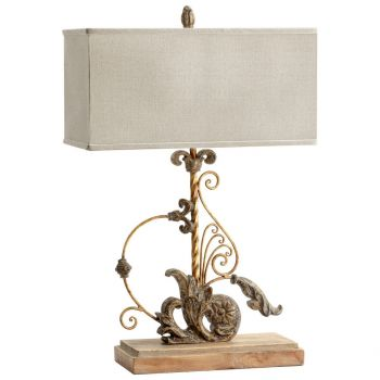 Cyan Design Lindley Table Lamp in Sawayer's White Wash Plantation Bronze