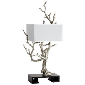 Cyan Design Mesquite 4-Light White Shade Table Lamp in Mystic Silver