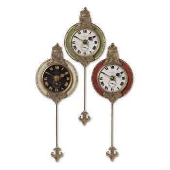 "Uttermost Monarch 11"" Wall Clock in Weathered Laminate/Cast Brass"