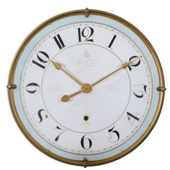 "Uttermost Torriana 31.5"" Wall Clock in Antique Gold"
