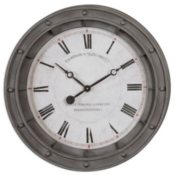 Uttermost Porthole Wall Clock in Rust Gray