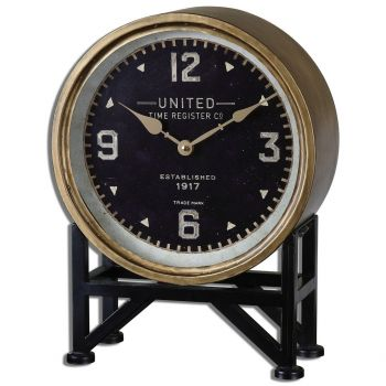 "Uttermost Shyam 16"" Table Clock in Brass"