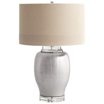 "Cyan Design Radiance 29.5"" Natural Linen Shade Table Lamp in Satin Chrome"