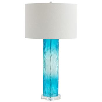 "Cyan Design Blue Dawn 31.25"" White Linen Shade Table Lamp in Cyan Blue"