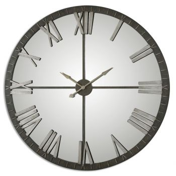 """Uttermost Amelie 60"""" Wall Clock in Distressed Rustic Bronze"""