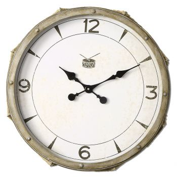 Uttermost Rope Snare Wall Clock in Antique Ivory w/ Rope Accent