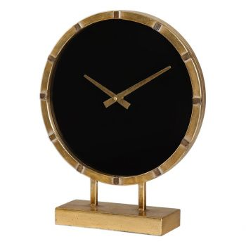 "Uttermost Aldo 14.75"" Table Clock in Antique Gold Leaf"
