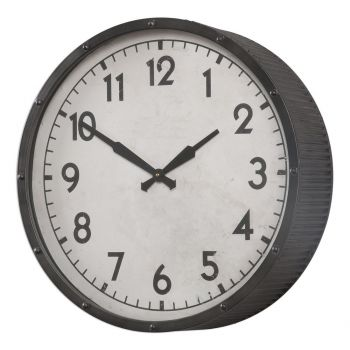 "Uttermost Berta 22"" Ivory Face Wall Clock in Aged Black"