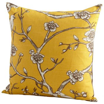 """Cyan Design Nature Lover 22"""" Feathers and Downs Pillow in Yellow"""