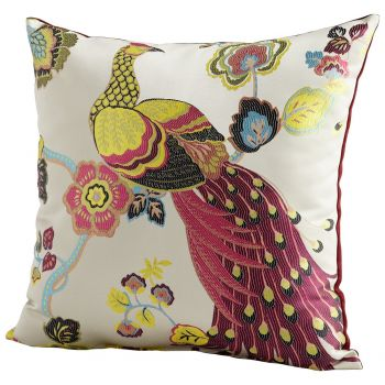 "Cyan Design Peacock 22"" Pillow in Fuchsia/White"