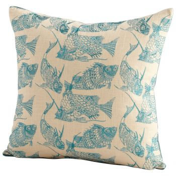 "Cyan Design Angler 18"" Pillow in Turquoise/White"