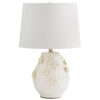 "Cyan Design Eire 23.25"" White Fabric Shade Table Lamp in Off-White Glaze"