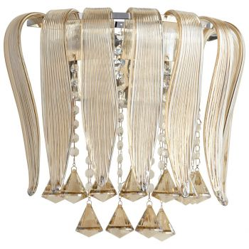 "Cyan Design Olivia 14.5"" 2-Light Cognac Glass Wall Sconce in Chrome"