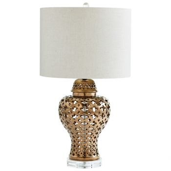 "Cyan Design Casablanca 27"" Linen Shade Table Lamp in Bronze"