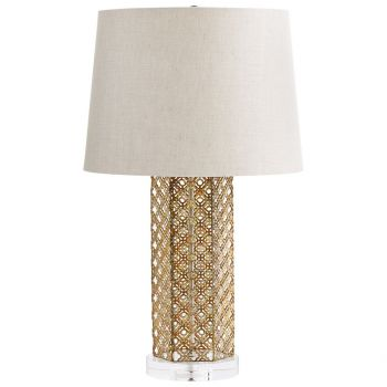 "Cyan Design Woven Gold 25"" Natural Linen Shade Table Lamp in Antique Gold"