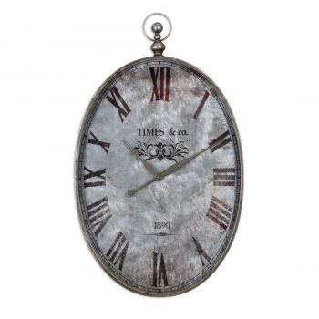 """Uttermost Argento 34.5"""" Wall Clock in Brushed Aluminum"""