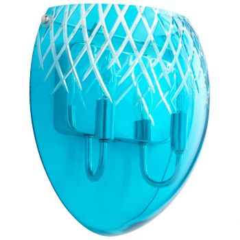 "Cyan Design Spheroid 11.75"" Blue Etched Glass Wall Sconce in Chrome"