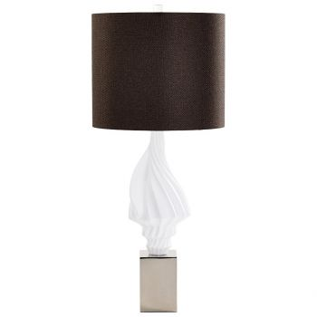 """Cyan Design Vestfold 32.75"""" Brown Fabric Shade Table Lamp in White"""