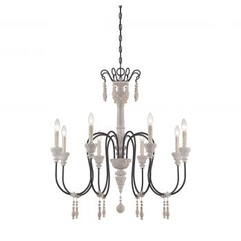 Savoy House Ashland 8-Light Chandelier in White Washed Driftwood