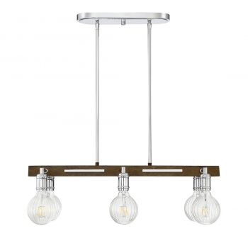 "Savoy House Barfield 28"" 6-Light Island Pendant in Polished Nickel/Wood"