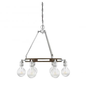 "Savoy House Barfield 22"" 6-Light Chandelier in Polished Nickel/Wood"
