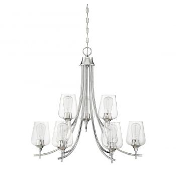 "Savoy House Octave 30"" 9-Light Chandelier in Polished Chrome"